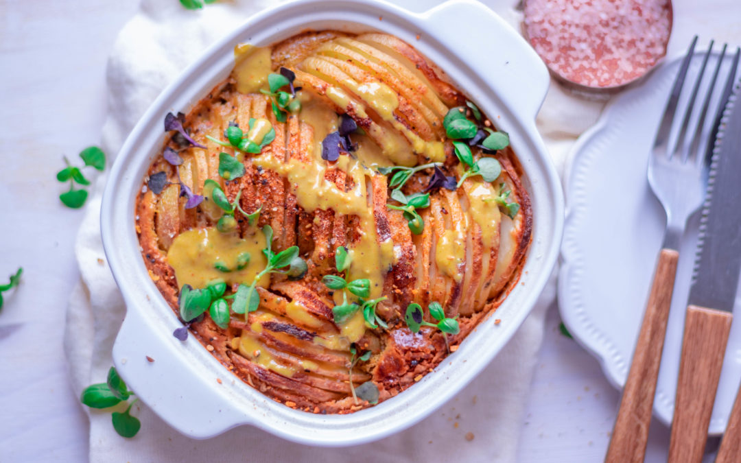 Cheesy Hasselback Potato Bake